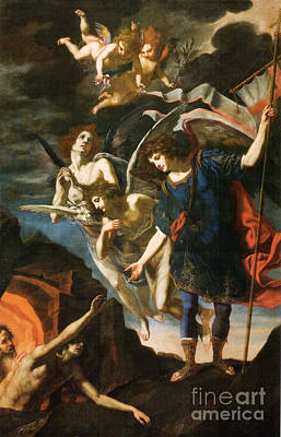 Purgatory Painting - Archangel Michael Saving Souls From Purgatory by Celestial Images