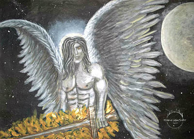 Painting - Archangel Michael Upclose by Absinthe Art By Michelle LeAnn Scott