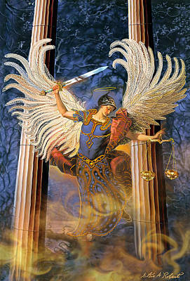 Print featuring the painting Archangel Raguel by Steve Roberts