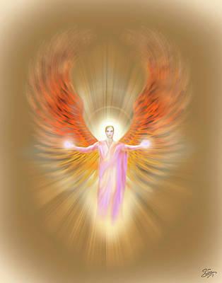 Photograph - Archangel Raphael - Pastel by Endre Balogh