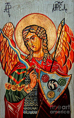 Black Gospel Painting - Archangel Uriel by Ryszard Sleczka