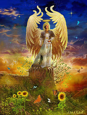 Angels Art Painting - Archangel Uriel by Steve Roberts