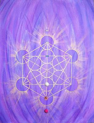 Metatron Cube Painting - Archangel Zadkiel And The Seventh Ray by Silvia Flores