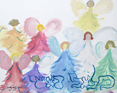 Painting - Archangels    Malchei Roshei by Hebrewletters Sl