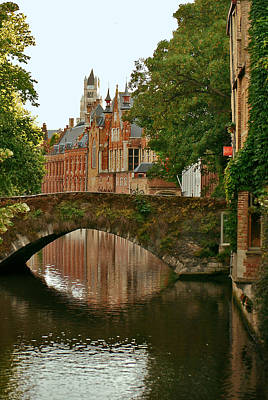 Jeka World Photograph - Arched Bridge Over One Of Bruges Canals by Jeff Rose
