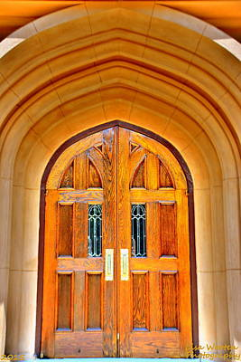 Photograph - Arched Doorway Trinity Episcopal Cathedral Columbia Sc by Lisa Wooten