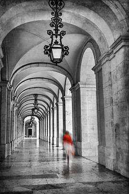 Photograph - Arched Walkway Terreiro Do Paco Lisbon Portugal In Black And White by Carol Japp