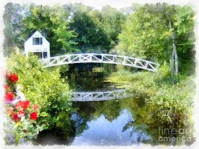 Arched Wooden Foot Bridge Mount Desert Island Acadia Maine Art Print by Edward Fielding