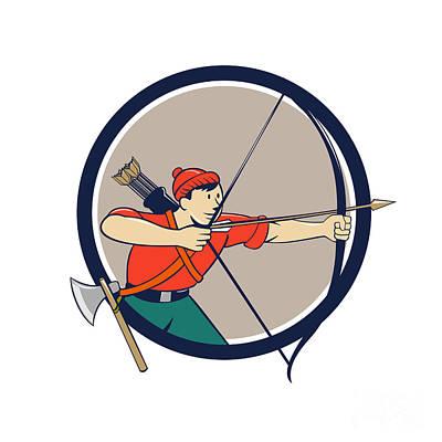 Archer Digital Art - Archer Aiming Long Bow Arrow Cartoon Circle by Aloysius Patrimonio
