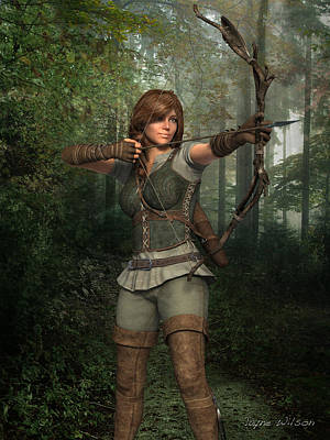 Digital Art - Archer In The Forest by Jayne Wilson