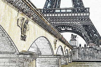 Digital Art - Arches And Imperial Eagles On Pont D'lena Below Eiffel Tower Paris France Colored Pencil Digital Art by Shawn O'Brien