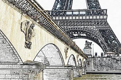 Digital Art - Arches And Imperial Eagles On Pont D'lena Below Eiffel Tower Paris France Colored Pencil Digital Art by Shawn O'Brien
