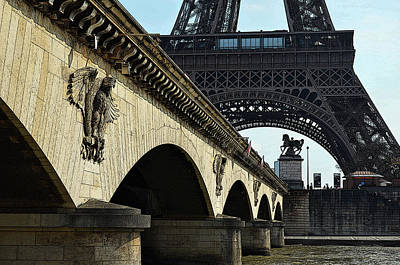 Digital Art - Arches And Imperial Eagles On Pont D'lena Below Eiffel Tower Paris France Poster Edges Digital Art by Shawn O'Brien