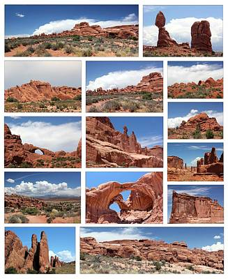 Photograph - Arches Collage White Background by Mary Bedy