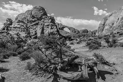 Photograph - Arches National Park Broken Arch Black And White  by John McGraw