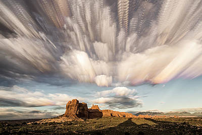 Photograph - Arches National Park Cloud Stack by Whit Richardson