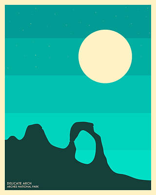 Moon Digital Art - Arches National Park by Jazzberry Blue