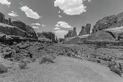 Photograph - Arches National Park Park Avenue Black And White 2 by John McGraw