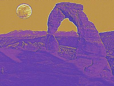 Red Painting - Arches National Park Travel Poster 3 by Celestial Images