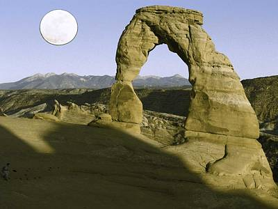 Park Scene Painting - Arches National Park Travel Poster 7 by Celestial Images