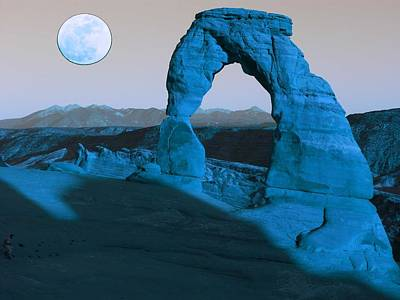 Park Scene Painting - Arches National Park Travel Poster 8 by Celestial Images