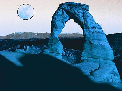 Park Scene Painting - Arches National Park Travel Poster 9 by Celestial Images