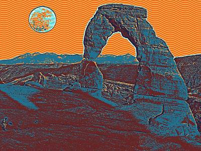 Park Scene Painting - Arches National Park Travel Poster by Celestial Images