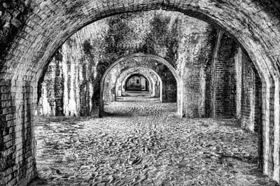 Lights In Tunnel Photograph - Arches Of Fort Pickens by JC Findley