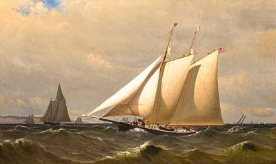 Landmarks Painting Royalty Free Images - Archibald Cary Smith American 1837 1911 New York Yacht Club Schooner CLIO Royalty-Free Image by Archibald Cary Smith American
