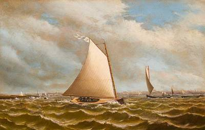 Landmarks Painting Royalty Free Images - Archibald Cary Smith American 18371911 Catboats on Oyster Bay, Long Island Royalty-Free Image by Archibald Cary Smith American