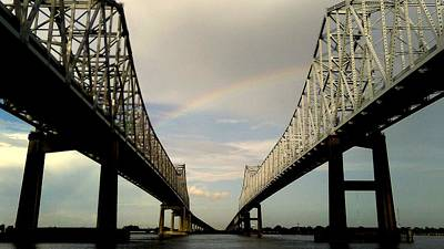 Photograph - Arching Shimmer Rainbow Over The Crescent City Connection Bridges In New Orleans by Michael Hoard