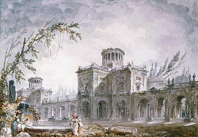 Drawing - Architectural Fantasy by Hubert Robert