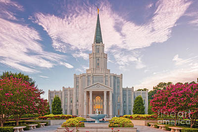 Photograph - Architectural Photograph Of Houston Latter Day Saints Temple In Champions Forest - Lds Church Texas by Silvio Ligutti