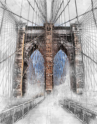 Digital Art - Architectural Sketch Brooklyn Bridge by Louis Ferreira