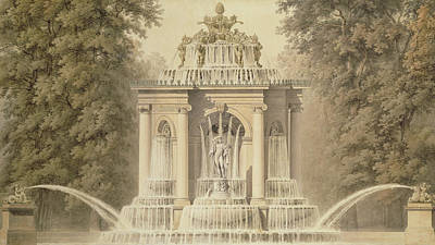 Pouring Drawing - Architectural Water Folly by English School