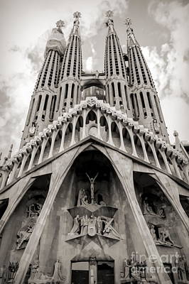 Architecture Antoni Gaudi La Sagrada Familia Barcelona Spain Sepia  Art Print