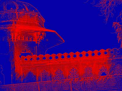 Photograph - Architecture Detail Blue And Red City Palace Udaipur Rajasthan India 1a by Sue Jacobi