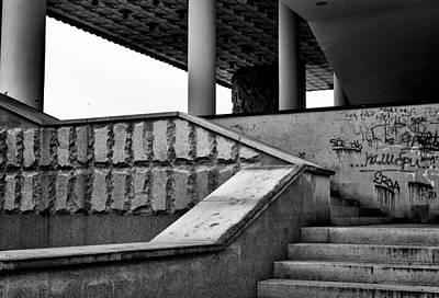 Photograph - Architecture Diagonals Abstract With Graffiti by John Williams