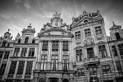 Marketplace Wall Art - Photograph - Architecture Of The Grand Place Brussels In Black And White by Carol Japp