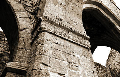 Ireland Photograph - Architecural Detail At Irish Jerpoint Abbey County Kilkenny Ireland Sepia by Shawn O'Brien