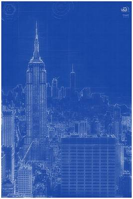 Painting - Archtectural Blueprint Drawing - Manhattan, New York Usa by Celestial Images