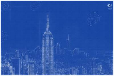 Painting - Archtectural Blueprint Drawing - New York Usa by Celestial Images
