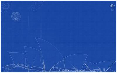 Painting - Archtectural Blueprint Drawing - Opera Building In Sydney 2 by Celestial Images