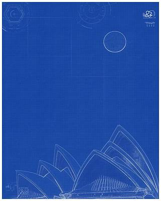 Painting - Archtectural Blueprint Drawing - Opera Building In Sydney by Celestial Images