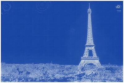 Painting - Archtectural Blueprint Drawing - Paris France by Celestial Images