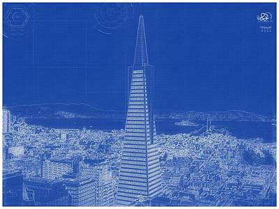Painting - Archtectural Blueprint Drawing - San Francisco, United States by Celestial Images