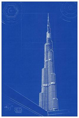 Painting - Archtecture Blueprint - Burj Khalifa by Celestial Images