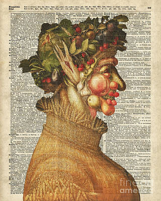 Upcycled Painting - Arcimboldo Summer On Dictionary Page by Jacob Kuch