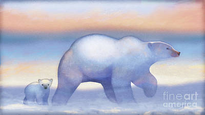 Teddy Bear Watercolor Painting - Arctic Bears, Journeys Bright by Tracy Herrmann