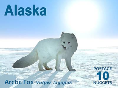 Vulpes Digital Art - Arctic Fox - Alaska Postage by David Devoe